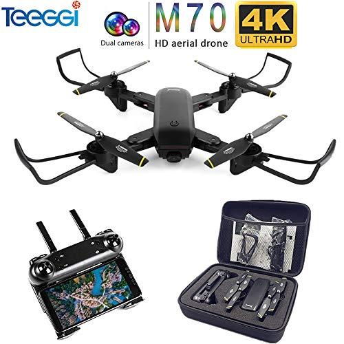 Teeggi SG700-D 4K Drohne mit Kamera Live Video WiFi FPV Rc Quadcopter mit Dual 4K HD Kameras Auto-Photograph Folding Drone Fernbedienung Rc Hubschrauber Spielzeug für Anfänger Kinder (Schwarz) M70
