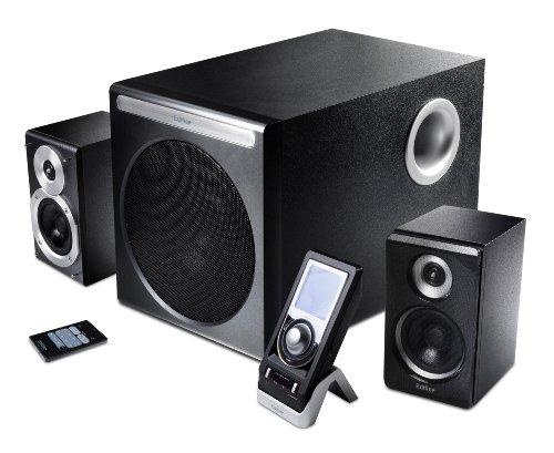 EDIFIER S530D 2.1 Lautsprechersystem (145 Watt) mit Infrarot-Fernbedienung und kabelgebundenem Controller, schwarz