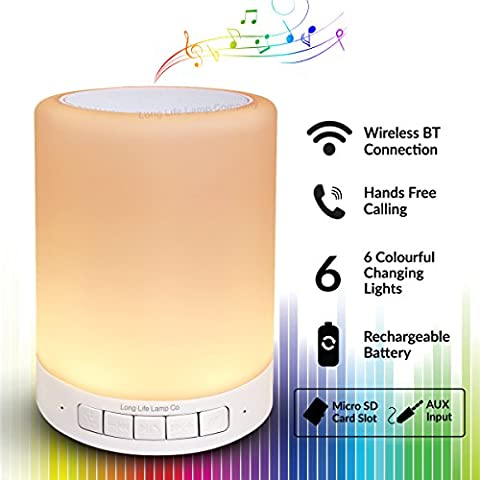 Portable RGB LED Touch Dimmable Mood Lamp Speaker USB Rechargeable 6 Colour Changing Wireless Connection