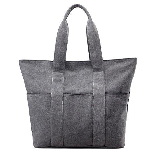 Pacchetto di modo semplice di Messenger della spalla delle signore della borsa della tela di canapa Grey