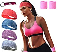 MEJAWDA Women Headbands 4 PACK Double Sleeved Soft and Stretchy Yoga Tennis Gym with 2 x Wrist Sweat band supp