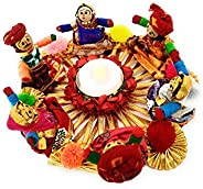 Recycled Material Rajasthani Dolls Puppet Tealight Candle Holder, Pack of 1