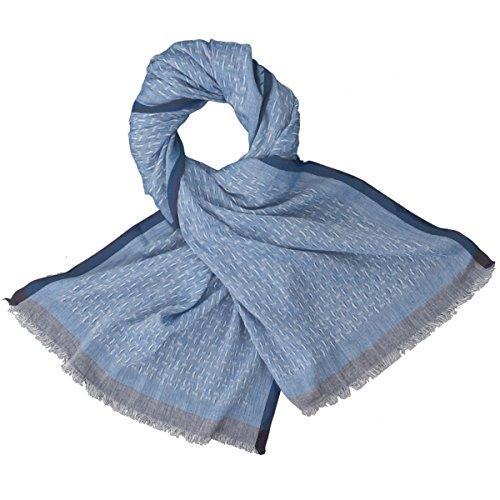 LINDENMANN Herren Schal Sommer / 100% Baumwolle, Herrenschal, blau