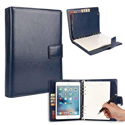 Apple iPad Mini 4 Mappe mit Notizblock, Cooper FOLDERTAB Tabletmappe Ordner Premium Business Links/Rechtshänder Hülle Schutzhülle Planer, Block austauschbar, Fächer (Blau)