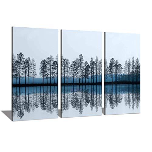 Hardy Gallery Abstrakte Natur-Artworks Wandbild, Motiv: Bäume mit Birke auf See in Dämmerung auf Leinwand, 3-teilig -