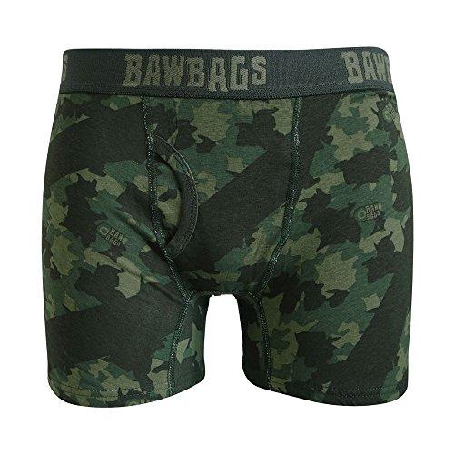 Bawbags Camo Boxer Shorts - Green XL -