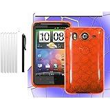 PlaneteMobile-Pack Coque De Protection Tpu Silicone + 6 Films Protections d'Ecran + Stylet pour HTC Desire HD - Orange