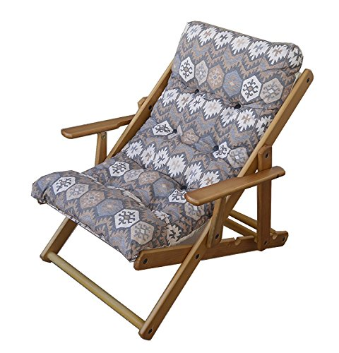 Relaxsessel/Liegestuhl aus Holz, mit 3 Positionen, zusammenklappbar, mit gepolsterten Kissen, 100 cm, für Wohnzimmer, Küche, als Sofa, Sessel, Couch Blau