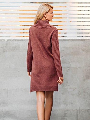Simplee Apparel Damen Lang Sweater Winter Elegant Langarm Rollkragen Kabel Split Strick Pullover Kleid Jumper Rust