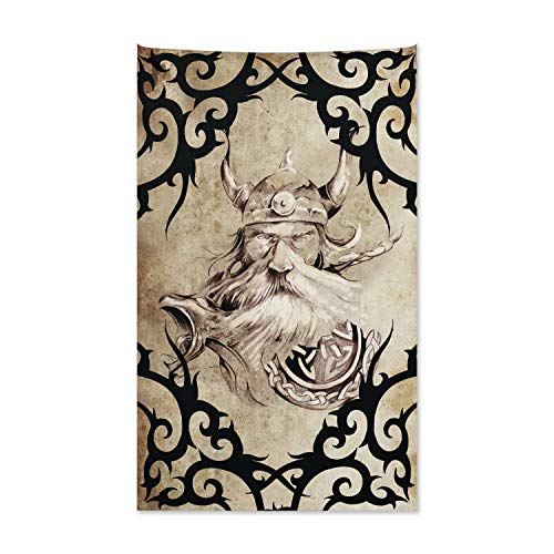 ABAKUHAUS Vikingo Tapiz de Pared y Cubrecama Suave, Silueta Vikinga Antigua, Lavable Colores Firmes, 140 x 230 cm, Beige Negro