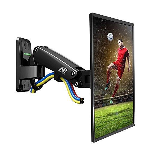 F120 Wandhalterung mit Gasfederdruckgelenk für LCD/LED TV und Monitore von 17 bis 27 Zoll Aluminium schwarz beschichtet