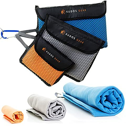 Set Of 3 Microfibre Towels With Carry Pouch And Free Carabiner - Quick Dry - Lightweight - Compact - Best For The Beach, Travel, Gym, Yoga, Camping, Sport &