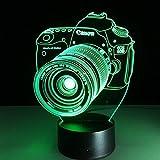GEARS PANDA Optical Illusion Lámpara de iluminación LED de cámara 3D, 7 Colores táctiles/luz Visual de Control Remoto, Luces ópticas nocturnas,