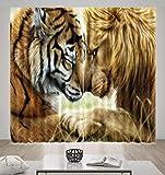 HONGYZCL Digitaler Vorhang des Tigers Und des Löwes 3D Passend Für Hauptschlafzimmerwohnzimmer,300Cm(W)×270Cm(H)