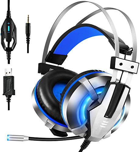 EKSA Stereo Noise Cancelling Over Ear Headphones Gaming Headset with Mic (Blue)