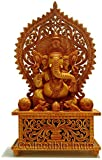Collectible India 1.3 FT Large Wooden Ganesh Ganesha Statue Idol - Intricately Hand Carved Home Decor, Ganpati Temple