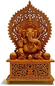 Collectible India 1.3 FT Large Wooden Ganesh Ganesha Statue Idol - Intricately Hand Carved Home Decor , Ganpati Temple
