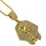 Gudeke Männer Frauen Gold überzogenes ägyptischen Pharao Tutanchamun Anhänger Halskette mit 29.5