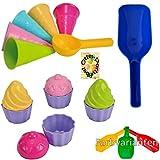 Sandspielzeug: 5 Eistüten + 1 Portionierer + 8tlg. Cup Cake Sandförmchen + 1 Mehlschaufel Sandkasten Kindergarten