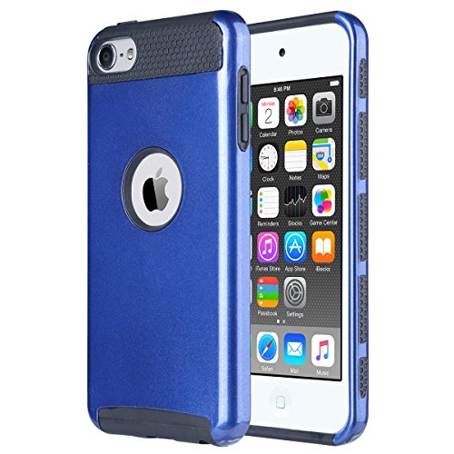 iPod Touch 5 Hülle, ULAK iPod Touch 6 Hülle Dual Layer Hybrid Schutzhülle Hart PC + TPU Weiche Stoßfest Tasche Case Cover für Apple iPod Touch 5 6 Generation (Blau + Schwarz) (Ipod Touch 5 Generation-halter)
