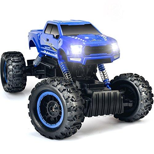 DOUBLE E Elektrische Fernbedienung Auto 4 Radantrieb Offroad RC Truck Rock Crawler Mit Dual Motoren für Starke Klettern Fähigkeit,Blau