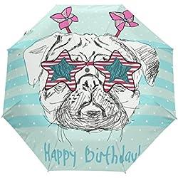 bennigiry Happy Pet Puds Pug perro gafas 3Folds Auto Abrir Cerrar paraguas compacto, resistente al viento portátil durabilidad viaje lluvia paraguas fácil de llevar