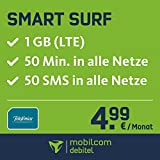 O2 Smart Surf im o2 Netz mit 1GB Internet Flat max. 21 MBit/s, 50 Frei-Minuten & 50 SMS in alle deutschen Netze, monatlich nur 4,99 EUR, Triple-Sim-Karten