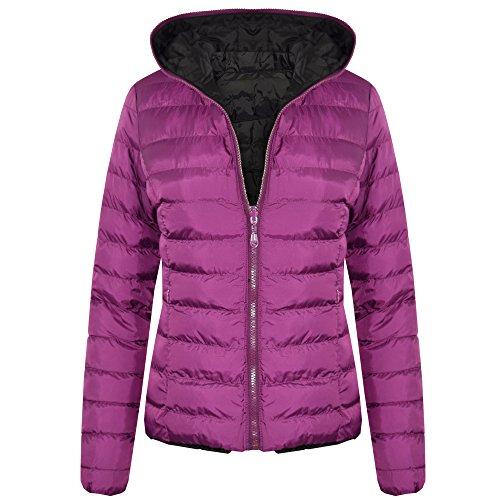 SheLikes Damen Steppjacke Jacke Gr. 36, violett/schwarz (Puffa Coat Frauen)