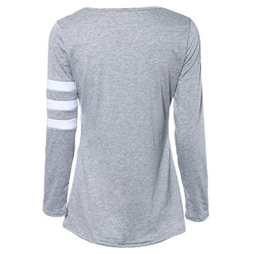 Vovotrade ❤❤Heiß !!! Womens Langarm Rundhals Spleiß Shirt Baumwollmischung Grau