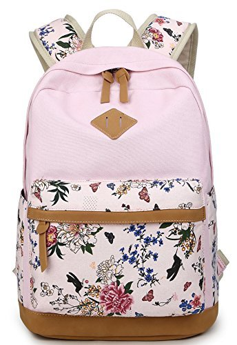 Schulrucksäcke Rucksack Damen Herren Canvas Vintage Schule Rucksäcke für Teens Jungen Studenten Blumen (Schulrucksack Rosa)