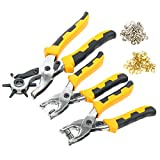 yaetek Hole Punch herramienta, con ojales y prensa Stud Juego de alicates herramienta de metal pesado–Alicate sacabocados para cinturón de cuero, Sillín, correa de reloj, zapatos, tela, papel, etc.