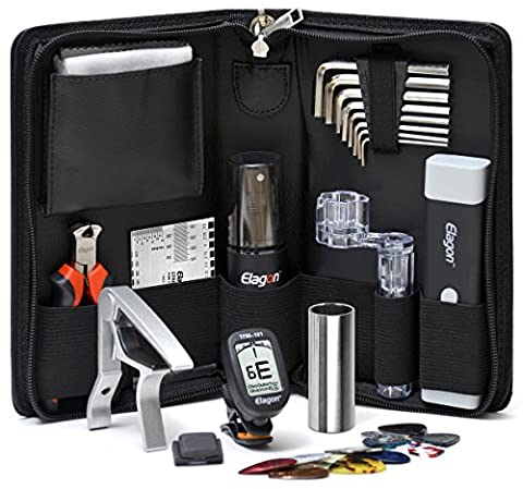 Elagon UK (+5) Pro Care Kit + 5 Items – Top Quality Guitar Cleaning and Maintenance Kit Containing all the Essential Guitar Tools to Keep Your Guitar Clean and Well Set Up For Best Playing Smoothness and Speed! The Perfect Maintenance and Setup Tools Kit in a Practical Pouch for Use at Home/on the Road + Tuner + Slide + Capo + 10 Plectrums + Double Plectrum Holder. For Electric Guitar, Acoustic Guitar, Classical Guitar/Spanish Guitar. A Great Gift for any Beginning, Advanced or Pro