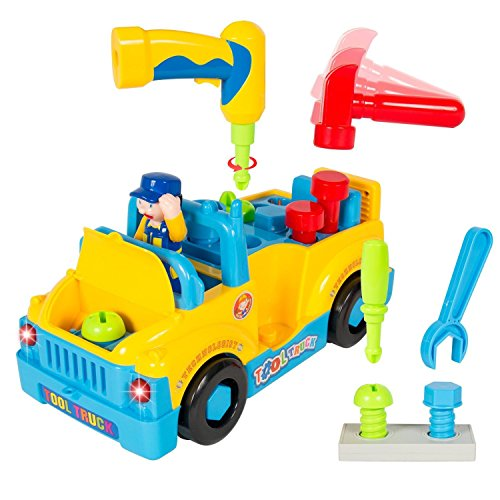 Smartcraft Amazingly Equipped Tool Toy Truck for Kids with Functioning Electric Toy Drill | 360 Degree Motion with Catchy Music & Flashing Lights | Great Children's Educational Learning Toy for Boys