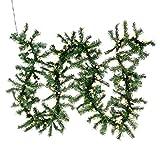 Weihnachtsgirlande mit 200 LED Kugeln gefrostet – Weihnachtsschmuck Tannengirlande grünes Kabel innen außen – Trafo – 6,7 m 180 Spitzen