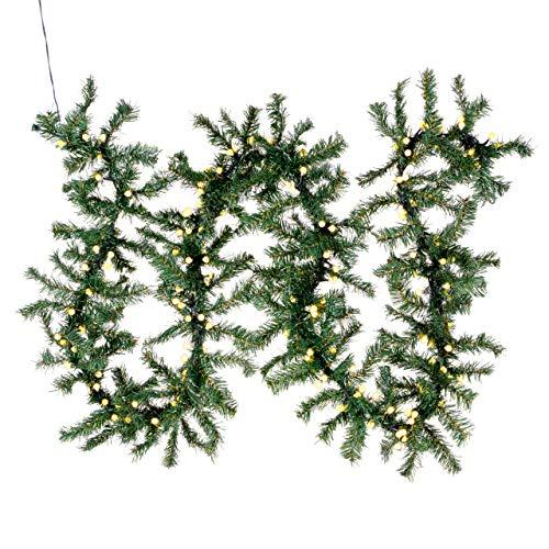 Weihnachtsgirlande mit 200 LED Kugeln gefrostet - Weihnachtsschmuck Tannengirlande grünes Kabel innen außen Trafo Timer 180 Spitzen