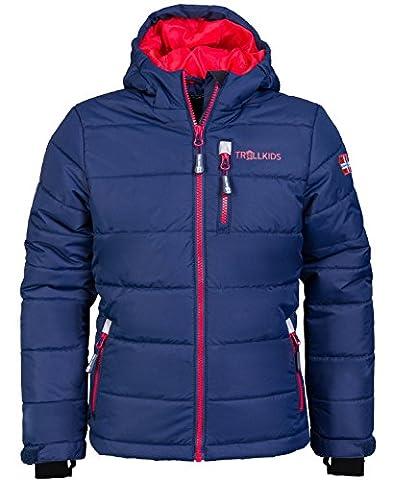 Trollkids Kinder Skijacke / Winterjacke Hemsedal, Marineblau / Rot, Größe 152