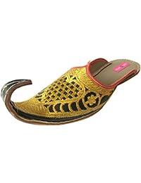 Step n Style Hombres aspecto Vintage hecho a mano indio Khussa zapatos de piel Aladdin Mojari, color, talla 41.5