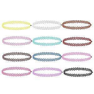 Zacro 12 Stück Gummi Halsband Tattoo-Kette Schmuck-Sets Damen-Schmuck Stretch Schmuck Elastische Halsbandanhänger Sets Farbig