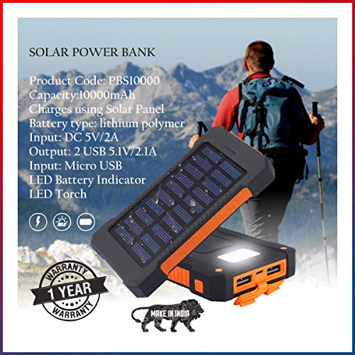 Buy Inspiring Tech® 10000mAh Solar Power Bank Outdoor Water Resistant Dual USB Solar Panel Portable Battery Charger Solar Power Bank with Led Light for iPhone X 10 8 7 6S iPad Samsung (Orange) online in India at discounted price