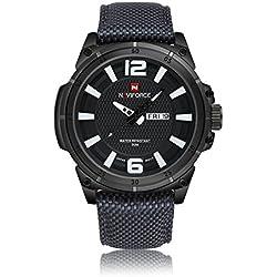 NAVIFORCE Men Sports Watches Men's Quartz Hour Date Clock Man Nylon Strap Military Army Waterproof Wrist Watch (Grey)