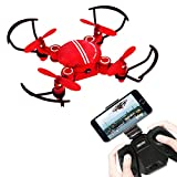 ONIPU Drohne mit Kamera, Faltbare Drohne RC Quadcopter mit WiFi HD Kamera Höhe Halten Headless Modus One-Key Start Landefunktion Spielzeug Geschenke für Jungen Mädchen (Drohne mit Kamera rot)