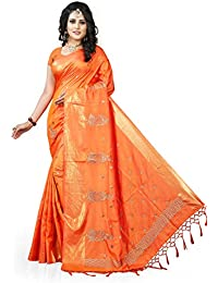 Gaurangi Creation Women's Art Silk Embroidered Party Wear Saree (KF2004_Orange_Free Size)