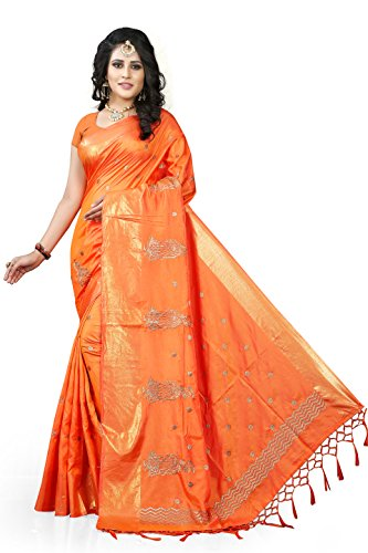 Gaurangi Creation Art Silk Saree With Blouse Piece(Kf2004_Orange Free Size)