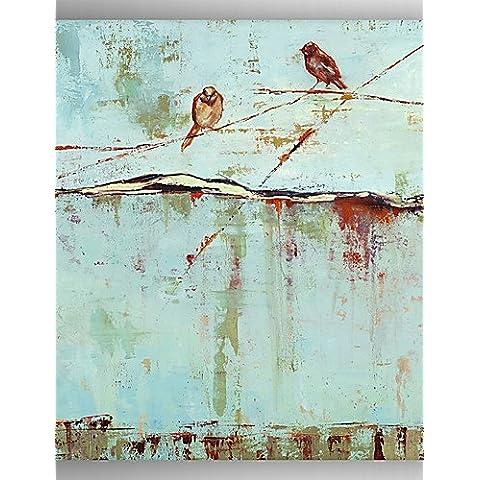 WAZZ- uccelli pittura a olio su tela dipinta a mano albero con Stretched incorniciato