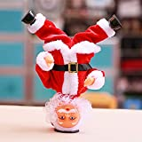 Adorno de decoración de Navidad, Electric Headstand Dancing Santa Claus Christmas Funny Figure Music Electric 27CM Ornamento de Regalo para el hogar