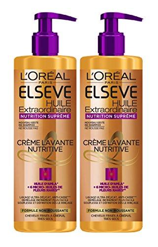 L'Oréal Paris Elsève Crème Lavante Low Shampoo Nutrition Suprême Cheveux Frisés à Très Secs 400 ml - Lot de 2