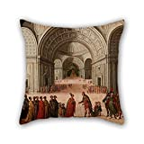 beautifulseason Pillowcase Of Oil Painting Circle Of Juan De La Corte - The Meeting Of Solomon And The Queen Of Sheba 16 X 16 Inches/40 By 40 Cm,best Fit For Boys,girls,her,coffee House,divan,gri