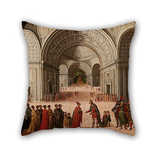 beautifulseason Oil Painting Circle of Juan De La Corte - The Meeting of Solomon and The Queen of Sheba Throw Pillow Covers 16 X 16 Inches/40 by 40 cm Gift or Decor for Outdoor Lounge Deck Chair -