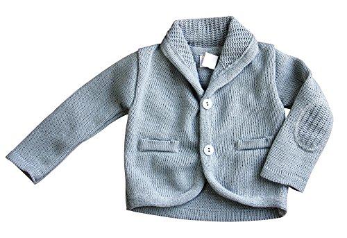BIMARO Baby Jungen Strickjacke grau hellgrau langarm Taufjacke Jacke Strick festlich Taufe Hochzeit Anlass, Größe:68