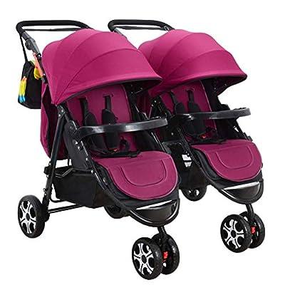 Arbre Niñito El Cochecito de bebé del Gemelo del Carro de bebé, Gemelos Dobles Desmontables Puede Sentarse el Cochecito Plegable Plano, B Carro